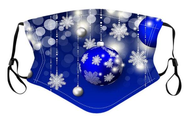 mundschutzmaske blaue weihnachtskugel